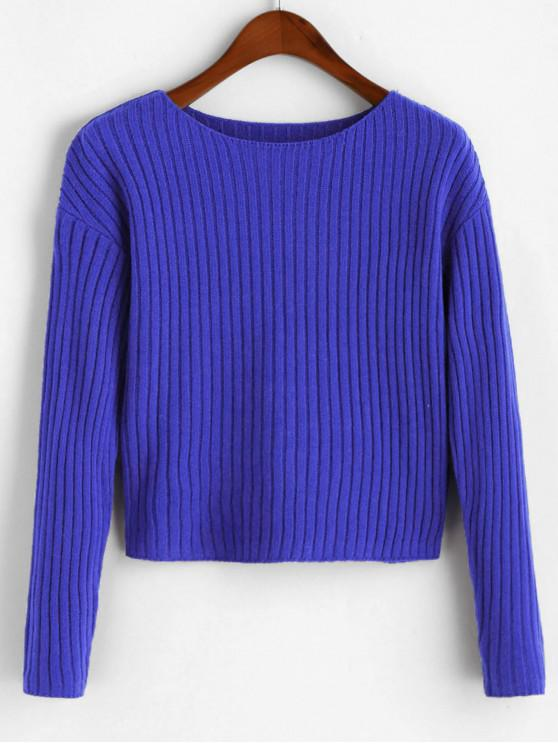 outfit Boat Neck Ribbed Sweater - OCEAN BLUE L