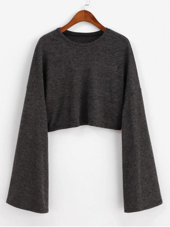 women ZAFUL Drop Shoulder Flare Sleeve Crop Tee - CARBON GRAY M