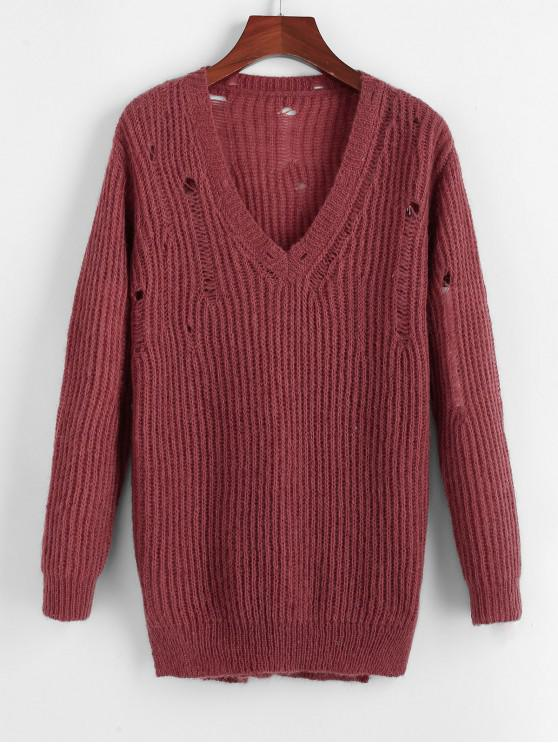 women ZAFUL Ripped Plunge Textured Plain Sweater - RED WINE S