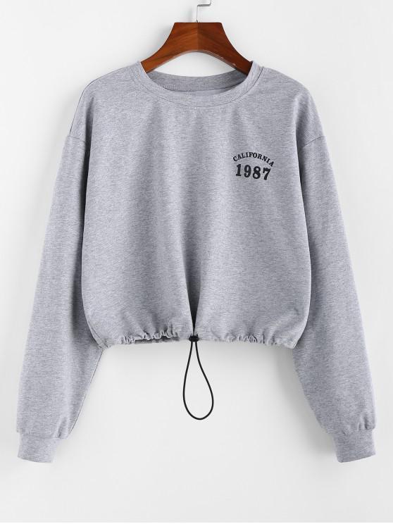 sale ZAFUL Toggle Drawstring Graphic Drop Shoulder Sweatshirt - LIGHT GRAY L