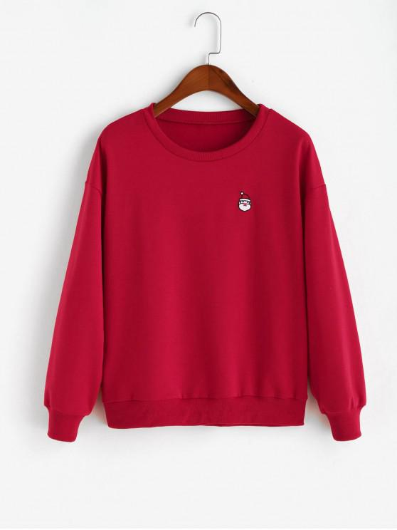 lady ZAFUL Christmas Santa Embroidered Drop Shoulder Sweatshirt - LAVA RED S