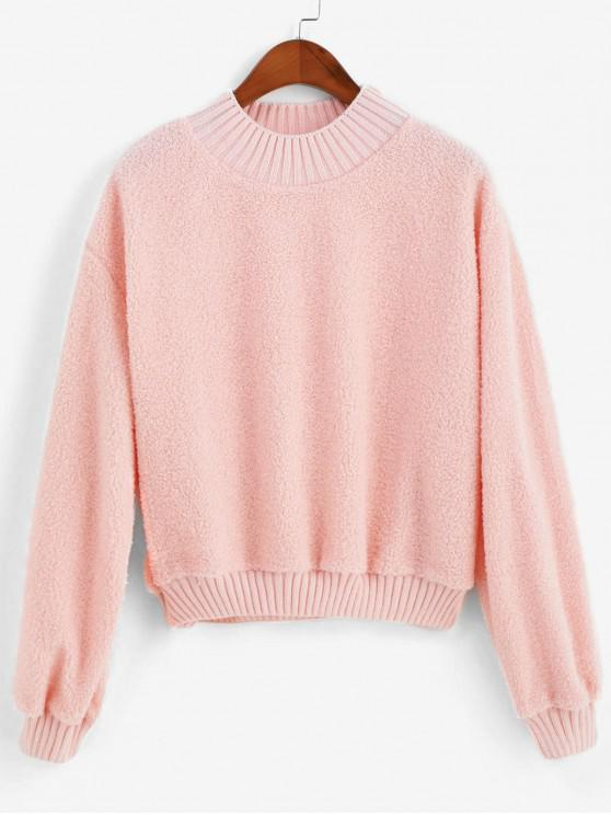 lady Ribbed Panel Mock Neck Teddy Sweatshirt - PINK S
