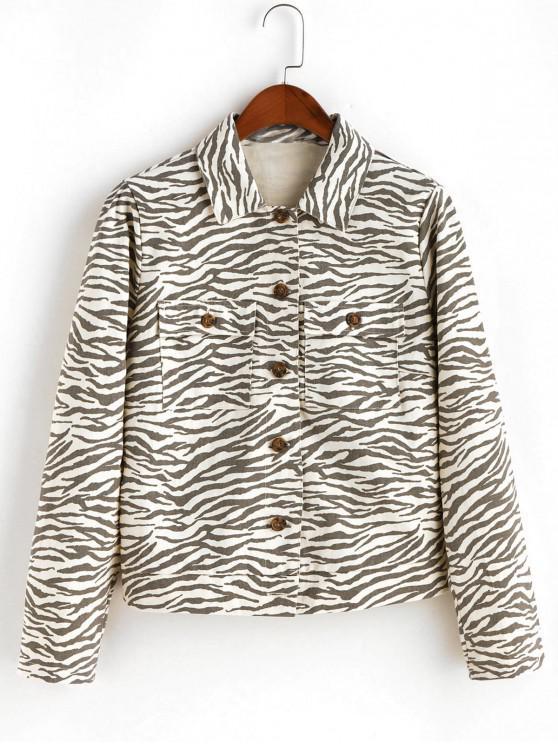 latest ZAFUL Button Up Flap Pockets Zebra Print Shirt Jacket - MULTI-A L