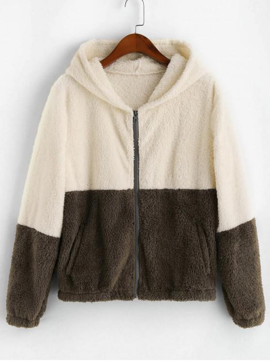 outfit ZAFUL Zip Up Fluffy Faux Shearling Two Tone Jacket - MULTI L