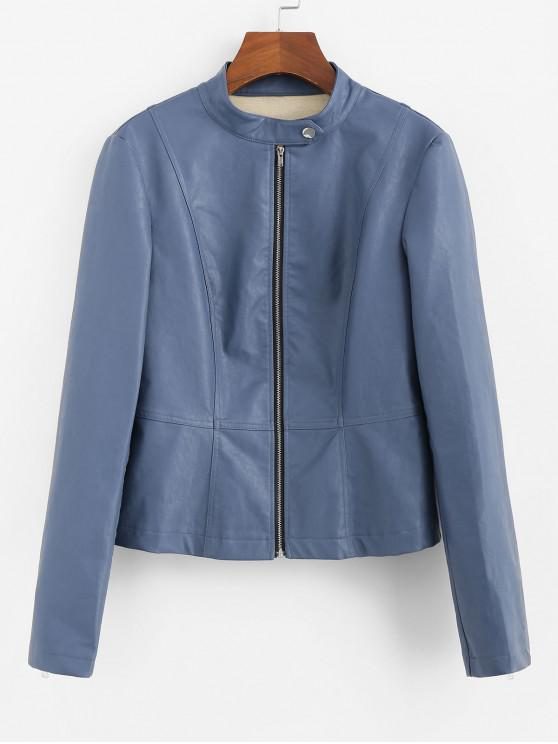 sale ZAFUL Faux Leather Zip Up Stand Collar Jacket - MIST BLUE L