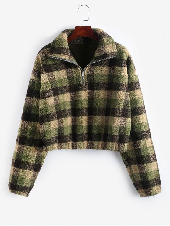 women's Plaid Crop Faux Fur Sweatshirt - MULTI-E M