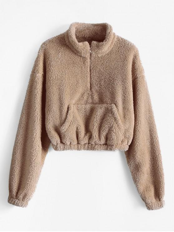 outfits ZAFUL x Alexis Ricecakes Front Pocket Solid Crop Faux Fur Sweatshirt - CAMEL BROWN S
