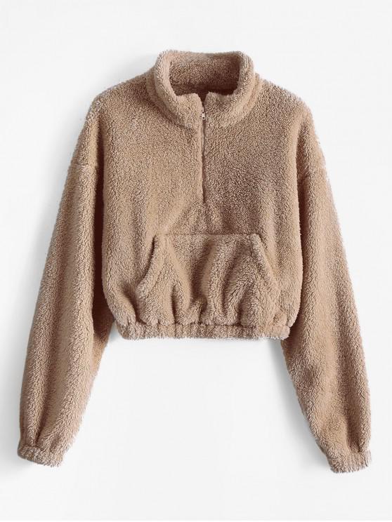 sale ZAFUL x Alexis Ricecakes Front Pocket Solid Crop Faux Fur Sweatshirt - CAMEL BROWN L