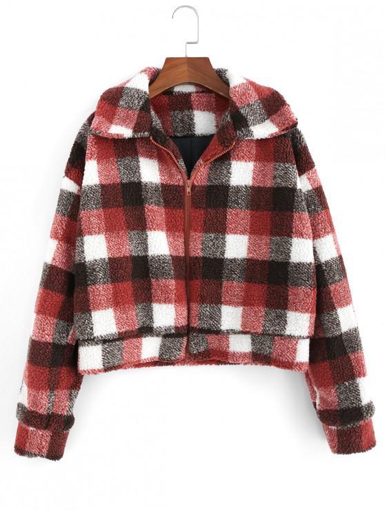 unique Fluffy Faux Fur Short Plaid Coat - RED WINE S