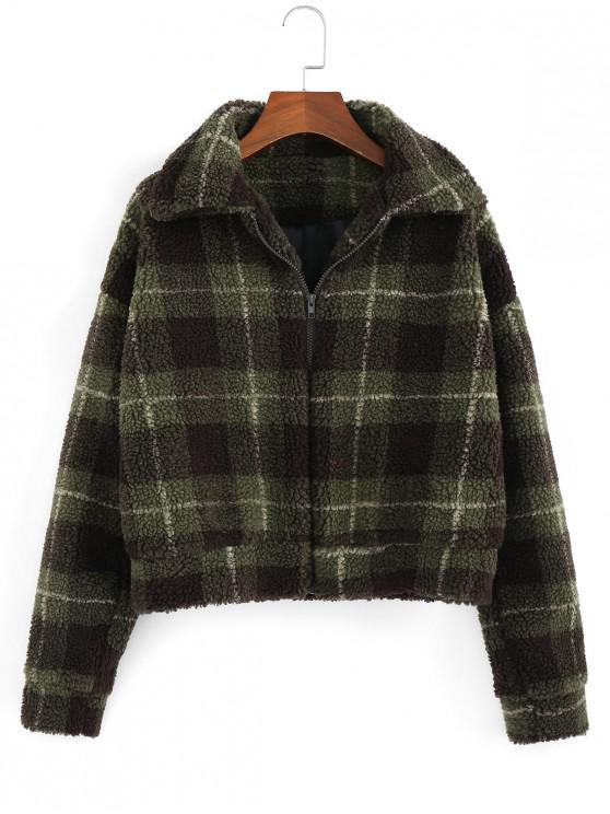 affordable Fluffy Faux Fur Short Plaid Coat - ARMY GREEN S