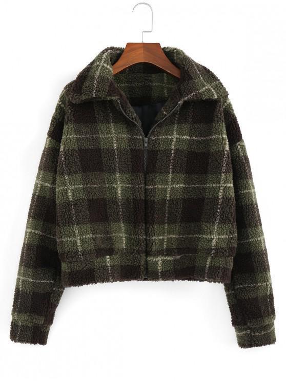 sale Fluffy Faux Fur Short Plaid Coat - ARMY GREEN L