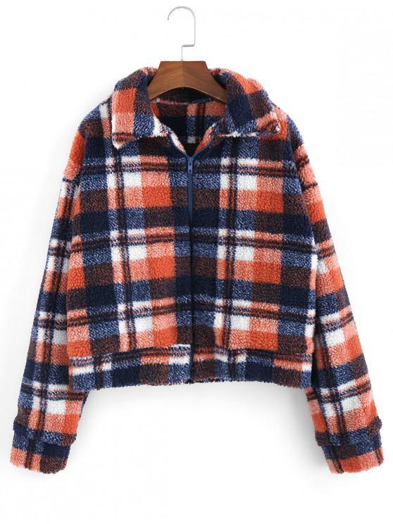 fancy Fluffy Faux Fur Short Plaid Coat - PAPAYA ORANGE S