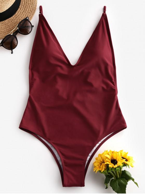 buy ZAFUL Plunge Front Padded Backless One-piece Swimsuit - RED WINE S