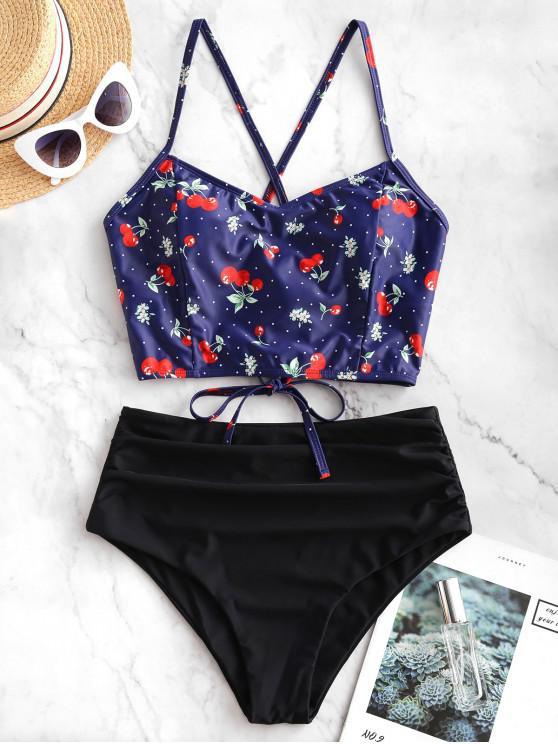 affordable ZAFUL Cherry Polka Dot Lace Up Tummy Control Tankini Swimsuit - NAVY BLUE XL