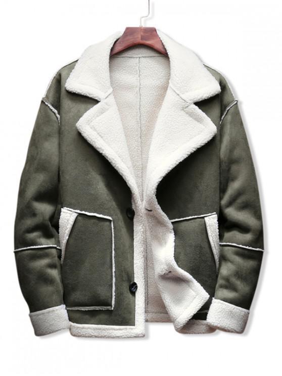women Contrast Color Spliced Faux Fur Casual Jacket - ARMY GREEN XL
