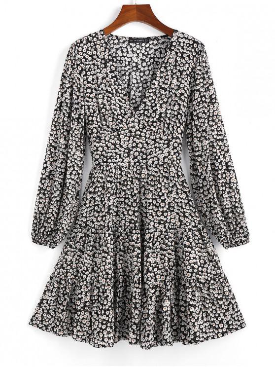 buy ZAFUL Ditsy Print Flippy Hem Plunging Dress - BLACK M