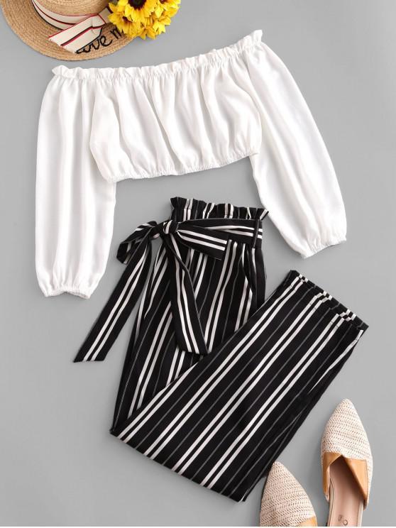 women ZAFUL Contrast Off Shoulder Stripes Paperbag Pants Set - WHITE L