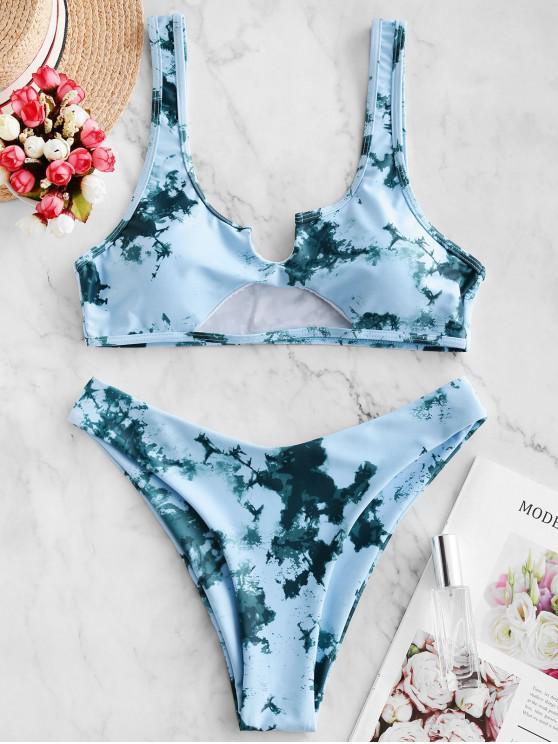 ZAFUL Maillot de Bain Bikini Teinté Découpé à Col V - Turquoise Grisâtre S