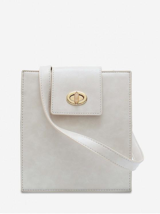 fashion Retro Square Solid Crossbody Shoulder Bag - WHITE