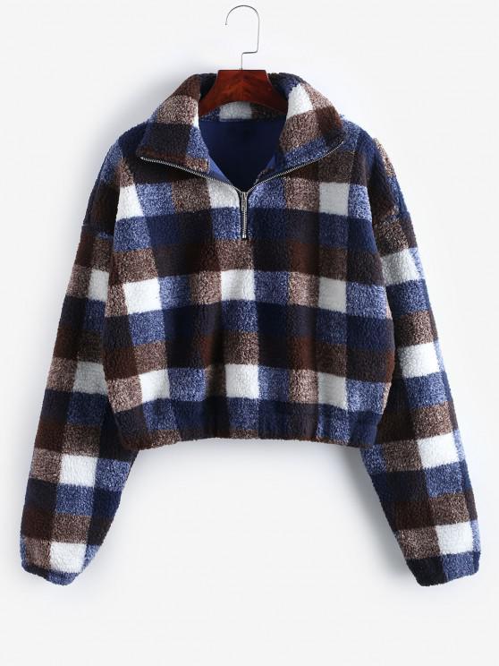 lady Plaid Crop Faux Fur Sweatshirt - MULTI-D L