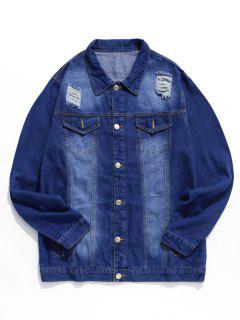 Ripped Design Button Fly Denim Jacket - Denim Dark Blue 2xl
