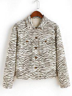 ZAFUL Button Up Flap Pockets Zebra Print Shirt Jacket - Multi-a M