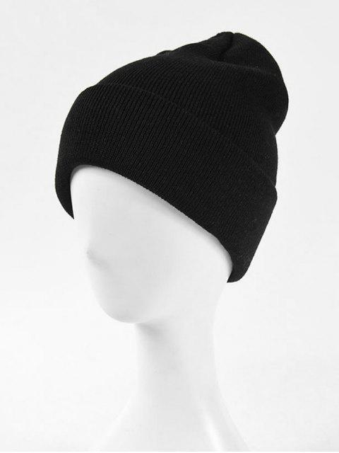 shop Solid Knitted Soft Winter Weaving Hat - BLACK  Mobile