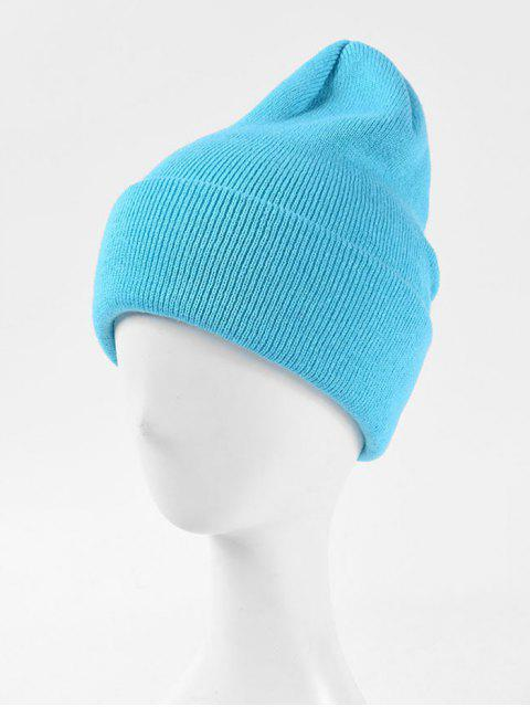 trendy Solid Knitted Soft Winter Weaving Hat - DAY SKY BLUE  Mobile