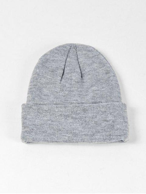 fashion Solid Knitted Soft Winter Weaving Hat - GRAY  Mobile