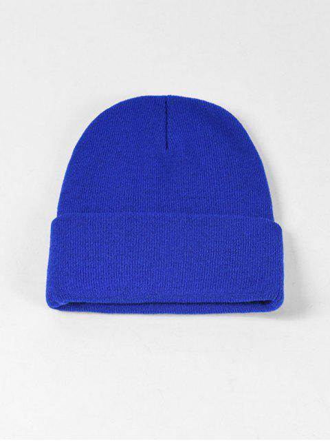 fancy Solid Knitted Soft Winter Weaving Hat - BLUE  Mobile
