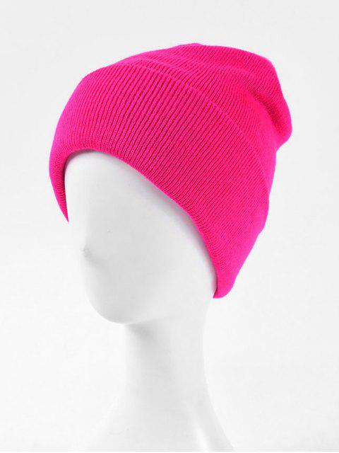 womens Solid Knitted Soft Winter Weaving Hat - ROSE RED  Mobile