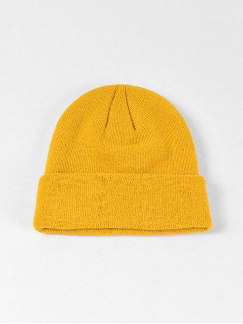 best Solid Knitted Soft Winter Weaving Hat - YELLOW  Mobile