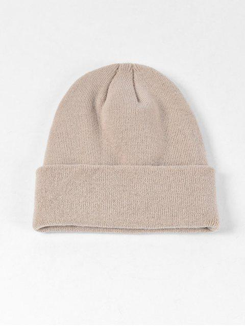 sale Solid Knitted Soft Winter Weaving Hat - BEIGE  Mobile