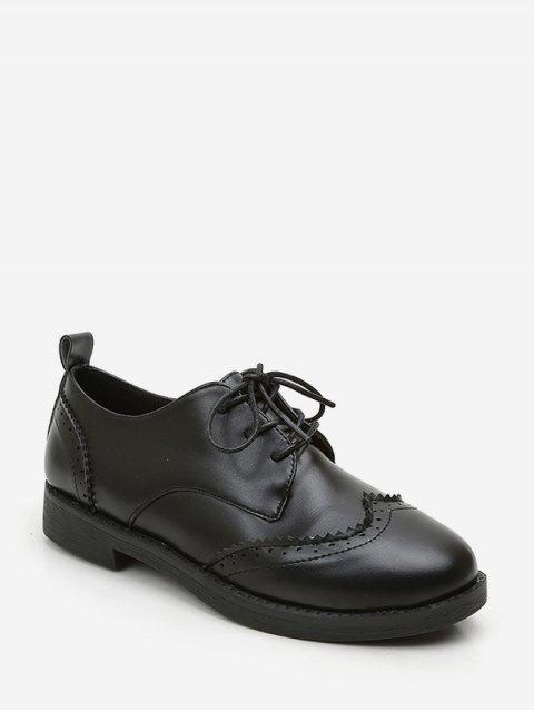 unique Solid PU Leather Vintage Casual Shoes - BLACK EU 36 Mobile