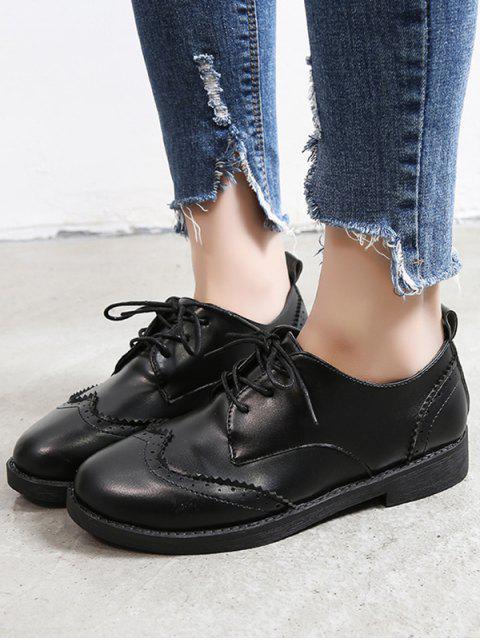 Chaussures Vintages Décontractées en Couleur Unie en Cuir PU - Noir EU 37 Mobile
