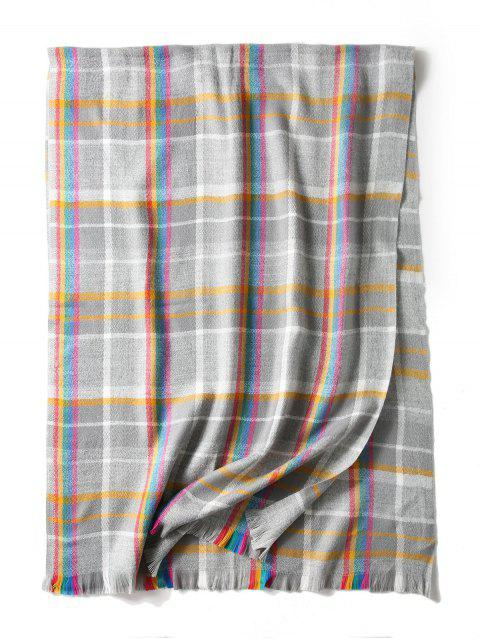 chic Plaid Double Sided Fringe Long Scarf - GRAY  Mobile
