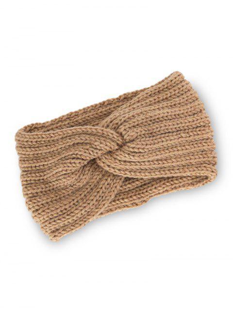 women Knitted Braid Knot Elastic Headband - KHAKI  Mobile