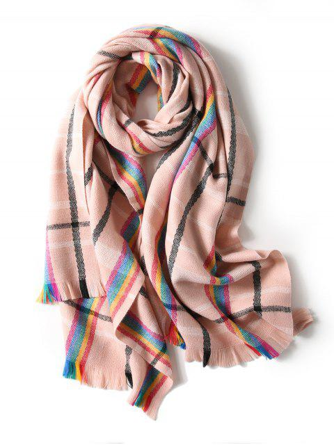 ladies Plaid Double Sided Fringe Long Scarf - PINK  Mobile