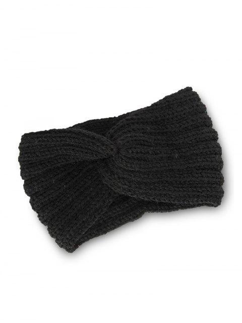 Bandeau Elastique Noué Tressé Tricoté - Noir  Mobile