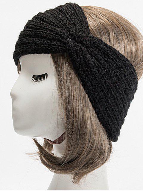 ladies Knitted Braid Knot Elastic Headband - BLACK  Mobile