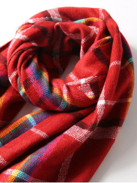 fashion Plaid Double Sided Fringe Long Scarf - RED  Mobile