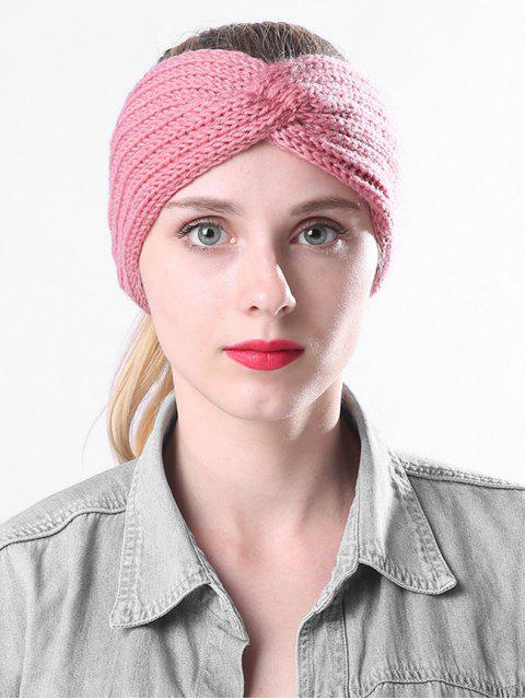 unique Knitted Braid Knot Elastic Headband - PINK  Mobile
