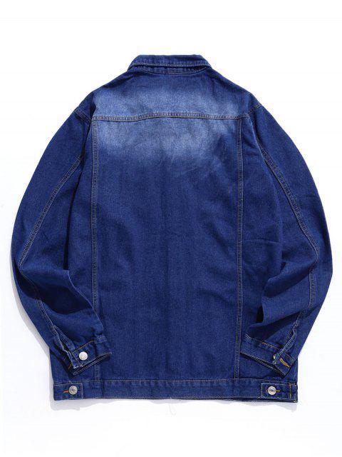 Veste Déchirée Bouton Design en Denim - Bleu Foncé Toile de Jean XL Mobile