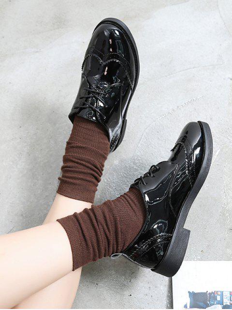 Chaussures Vintages Décontractées en Couleur Unie en Cuir PU - Miroir Noir EU 35 Mobile