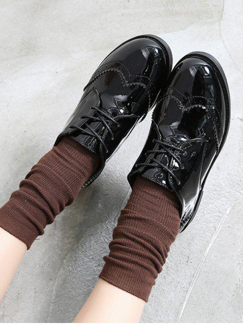 lady Solid PU Leather Vintage Casual Shoes - MIRROR BLACK EU 35 Mobile