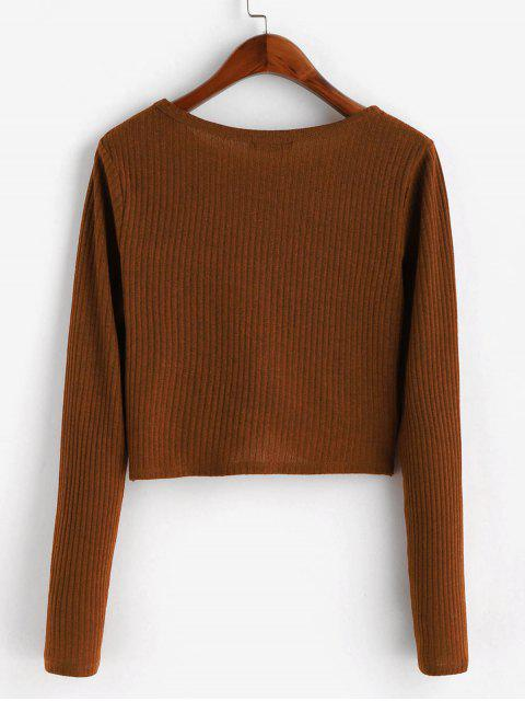 online ZAFUL Ribbed Twisted Long Sleeve Crop Tee - BROWN M Mobile