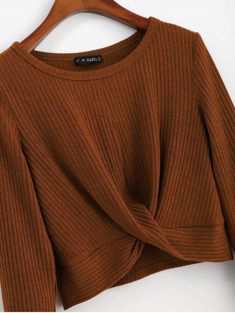 trendy ZAFUL Ribbed Twisted Long Sleeve Crop Tee - BROWN XL Mobile