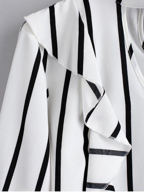 women's ZAFUL Striped Ruffle Choker Blouse - MILK WHITE L Mobile