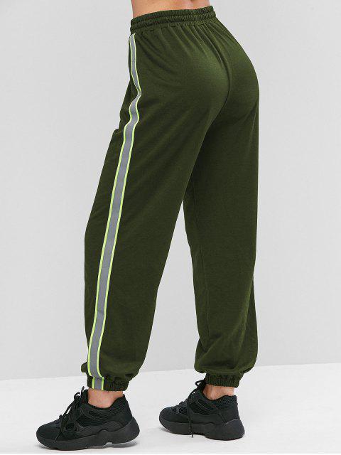 Pantalones ZAFUL neón reflectante del lado de cordón del basculador - Ejercito Verde XL Mobile
