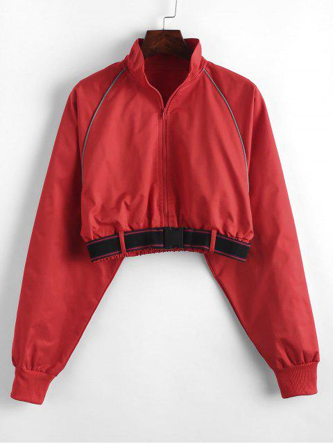best Piping Zip Up Crop Windbreaker Sweatshirt - RED S Mobile